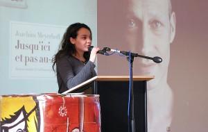 Der mit Spannung erwartete Jurytag des 15. Euregio-Schüler-Literaturpreises, hier das Plädoyer einer belgischen Schülerin, fand dieses Mal im niederländischen Brunssum am Romboutscollege statt.