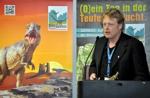 """""""Mit Beginn dieser Saison erleben die Besucher des Parks eine Reise durch insgesamt 620 Millionen Jahre Erdgeschichte"""", erzählte Bruno Zwank, Geschäftsführer des Dinosaurierparks Teufelsschlucht, bei der Pressekonferenz der Zukunftsinitiative Eifel auf der ITB in Berlin. Foto: Reiner Züll/pp/Agentur ProfiPress"""