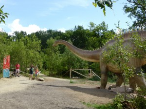 Der Diplodocus ist der bislang größte Saurier im Dinosaurierpark Teufelsschlucht. Sein Aussehen entspricht wie bei allen anderen Modellen dem aktuellen Forschungsstand. Foto: Dinosaurierpark Teufelsschlucht