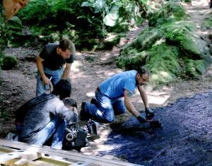 """Der Schattenzauber sieht fernab der Filmkameras ganz harmlos aus: Ein Geheimrezept ergibt die schwarze Pampe, die auf eine Folie aufgetragen wird. Die Filmcrew nennt das Ergebnis dann """"Mumpe"""". Foto: Thomas Schmitz/pp/Agentur ProfiPress"""