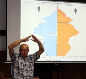 Ortsvorsteher Karl Vermöhlen zeigt während seines Begrüßungsvortrags über die Demografie den Bevölkerungspilz anschaulich. Foto: Thomas Schmitz/pp/Agentur ProfiPress