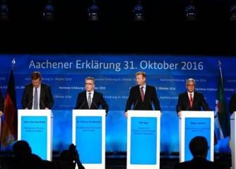 Die zuständigen Minister Ard van der Steur (Niederl.), Johan Van Overtfeldt (Belg.), Thomas de Maizière (Deutschl.), Ralf Jäger (NRW), Roger Lewentz (Rheinland-Pfalz) & Boris Pistorius (Niedersachsen) (v.l.n.r.) (Bild: Bundesministerium des Innern D